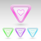 Vector buttons with heart Stock Photo