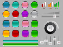 Vector buttons and icons Stock Image