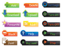 Vector buttons and icons pack for website Royalty Free Stock Image