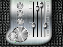 Vector buttons with mixing console faders Royalty Free Stock Image