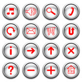 Vector buttons with red symbols. Royalty Free Stock Photos