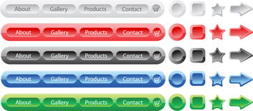Vector buttons set templates for web Royalty Free Stock Photos