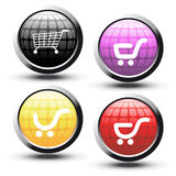 vector buttons with shopping trolley Royalty Free Stock Image