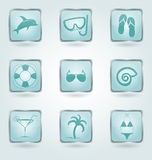 Vector buttons with vacation icons. Royalty Free Stock Photo