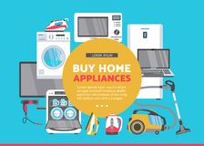 Vector flat home appliance sale icon set Royalty Free Stock Photography