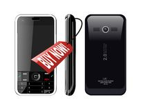 Vector buy now a smartphone. White isolated Vector of buy now smartphone Royalty Free Stock Photography