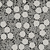 Vector BW Concentric Circles Mosaic Jumble Seamless Pattern Stock Images