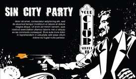 Vector BW Illustration. Template flyers. Sin City party. A man with a gun Stock Photography