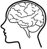 Vector bw van het hersenenpictogram Stock Foto's