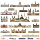 Vector câmaras municipais detalhadas altas da coleção, casas do parlamento e construções administrativas ilustração stock