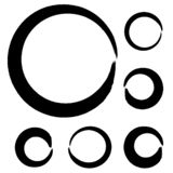 Vector círculos dos cursos da escova da pintura no fundo branco Círculo tirado mão da escova de pintura da tinta ilustração do vetor