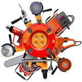 Vector Cable Reel with Power Tools. On white background royalty free illustration