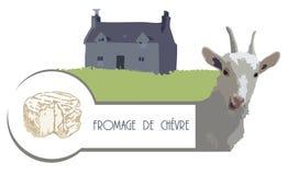 Vector a cabra da imagem no fundo de uma casa com um gramado e um queijo foto de stock royalty free