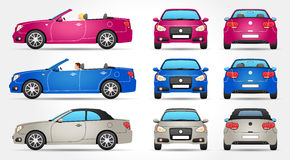 Vector Cabriolet - Profile - Front - Back view Royalty Free Stock Photos