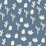 Vector cacti on blue seamless repepat patern background royalty free illustration