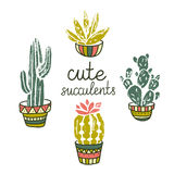 Vector Cactus hand-drawn poster. Grunge silhouette print linocuts. Cacti  on the white background. Royalty Free Stock Photography