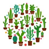 Vector cactus icons. Vector home cactus icons. Different types of cactus plants in flowerpots with flowers and grass icons Royalty Free Stock Photography