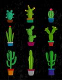 Vector cactus icons. Vector home cactus icons. Different types of cactus plants in flowerpots with flowers and grass icons Stock Photos
