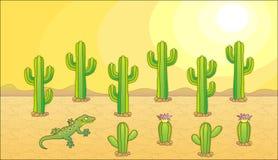 Vector cactus set. Cactus and lizard. Desert theme. Vector illustration Stock Photos