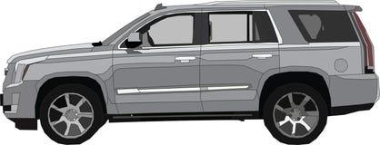 Vector Cadillac Escalade. This is the car brand Cadillac Escalade silver and gray color on a white background Stock Photos