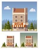 Vector cafe building vector illustration