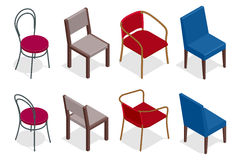 Vector cafe chair collection. Flat 3d vector isometric cafe chairs illustration. Royalty Free Stock Photo