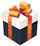 Vector a caixa de presente com a fita de seda alaranjada e curve-a Ilustração Royalty Free