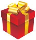 Vector a caixa de presente vermelha com fita dourada e curve-a Ilustração do Vetor