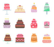 Vector cake collection icons Stock Photography