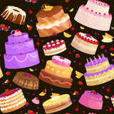 Vector cake icon set, Birthday food, sweet dessert,  illustration. Stock Image