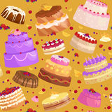 Vector cake icon set, Birthday food, sweet dessert,  illustration. Royalty Free Stock Photos