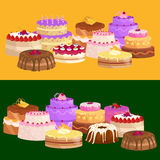 Vector cake icon set, Birthday food, sweet dessert, isolated illustration. Royalty Free Stock Photography