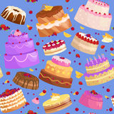 Vector cake icon set, Birthday food, sweet dessert, isolated illustration. Stock Photos