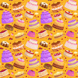 Vector cake icon set, Birthday food, sweet dessert, isolated illustration. Royalty Free Stock Images