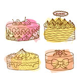 Vector cake illustration. Set of 4 hand drawn cakes with colorful watercolor splashes. Cakes with cream and berries. Stock Images