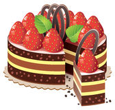 vector cake with strawberry Royalty Free Stock Photography
