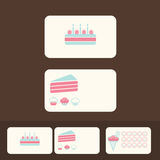 Vector cakes business cards, discount and promotional cards Stock Images