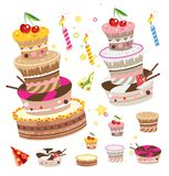 Vector cakes set Stock Photos