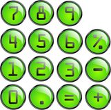 Vector calculator buttons. Vector calculator green buttons on white background Royalty Free Stock Image