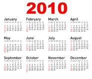 Vector calendar. Vector 2010 all month calendar royalty free illustration