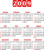 Vector calendar 2009. Vector calender 2009. Fully editable, easy color change. To see similar, please visit my gallery Royalty Free Stock Photography