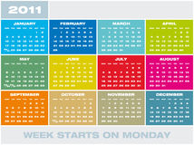 Vector Calendar 2011. Colorful Calendar for year 2011 in vector format. Week starts on Monday vector illustration