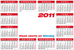 Vector Calendar 2011 Stock Photography