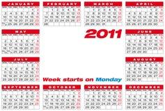 Vector Calendar 2011 Stock Photography