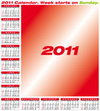 Vector Calendar 2011. Calendar for year 2011, in format. American style (Week starts on Sunday vector illustration