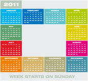 Vector Calendar 2011. Colorful Calendar for year 2011 in format. Week starts on Sunday stock illustration