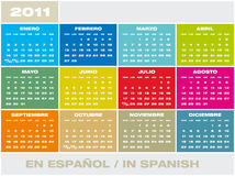 Vector Calendar 2011 in Spanish Royalty Free Stock Images