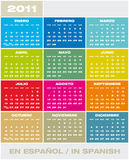 Vector Calendar 2011 in Spanish. Colorful Calendar for year 2011 in Spanish and format. Week starts on Sunday vector illustration