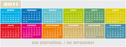 Vector Calendar 2011 in Spanish. Colorful Calendar for year 2011 in Spanish and format. Week starts on Sunday royalty free illustration