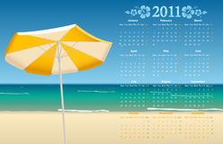 Vector calendar 2011 with tropic beach. Vector European calendar 2011 with tropic beach, starting from Mondays Royalty Free Stock Photos